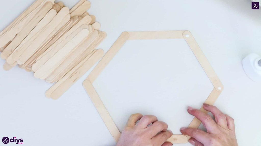 Diy popsicle stick hexagon shelf step 2a