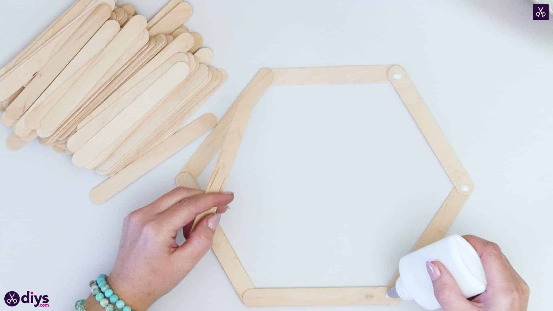 Diy popsicle stick hexagon shelf step 2b