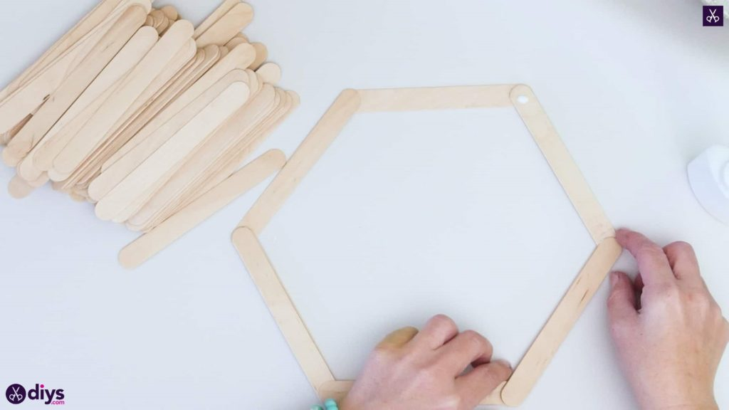 Diy popsicle stick hexagon shelf step 2c