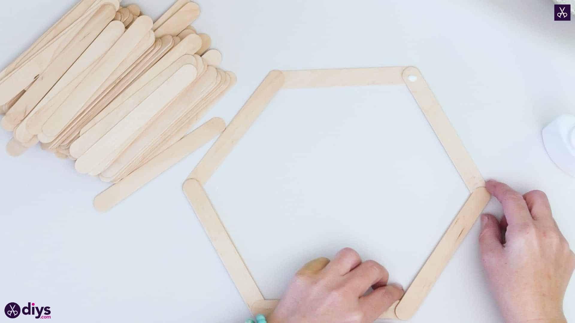 Diy popsicle stick hexagon shelf step 2c