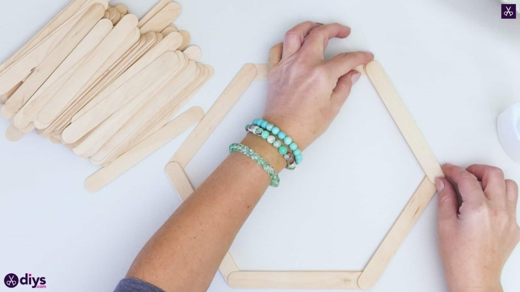 Diy popsicle stick hexagon shelf step 2d