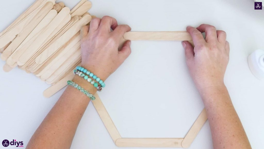 Diy popsicle stick hexagon shelf step 2e