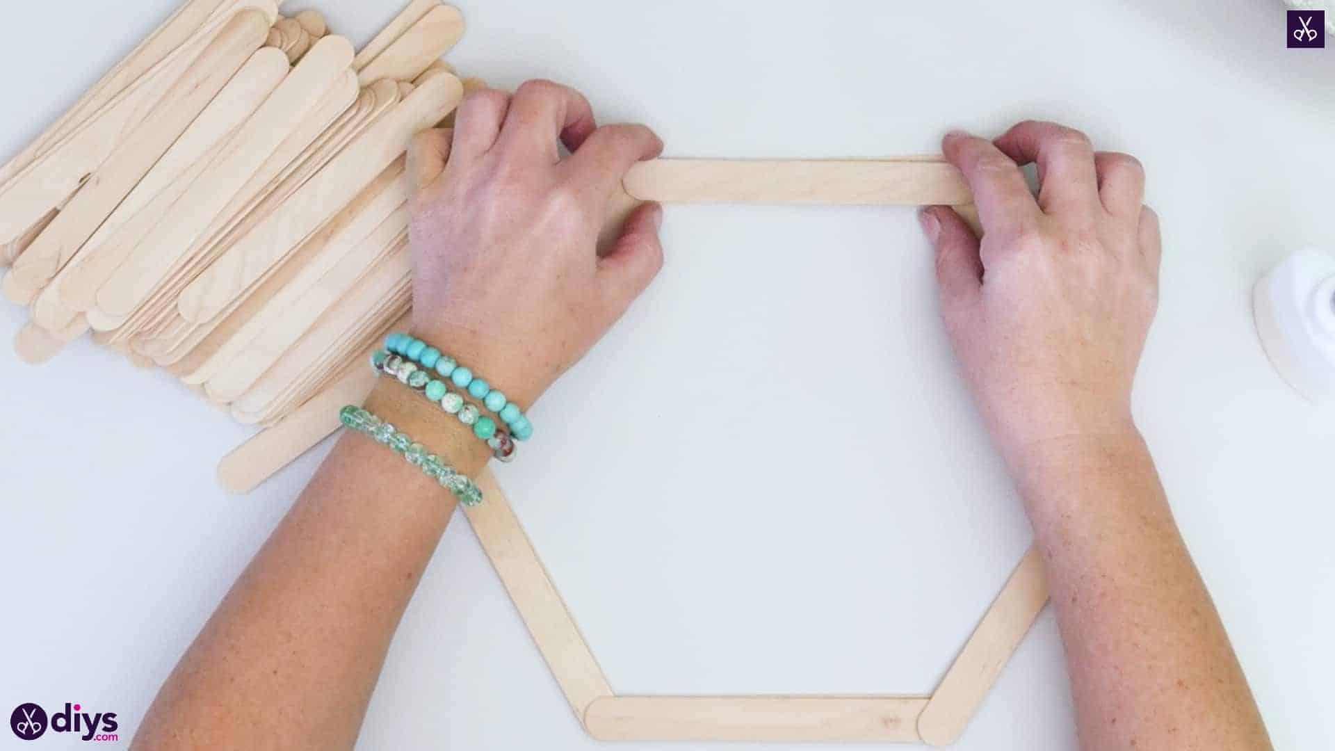 Diy popsicle stick hexagon shelf step 2e