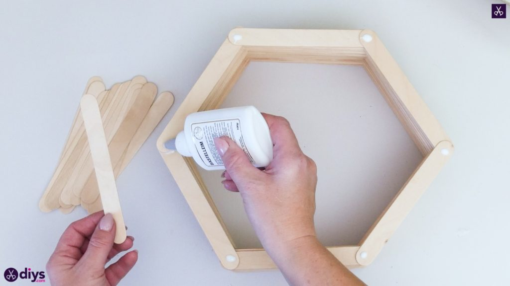 Diy popsicle stick hexagon shelf step 3