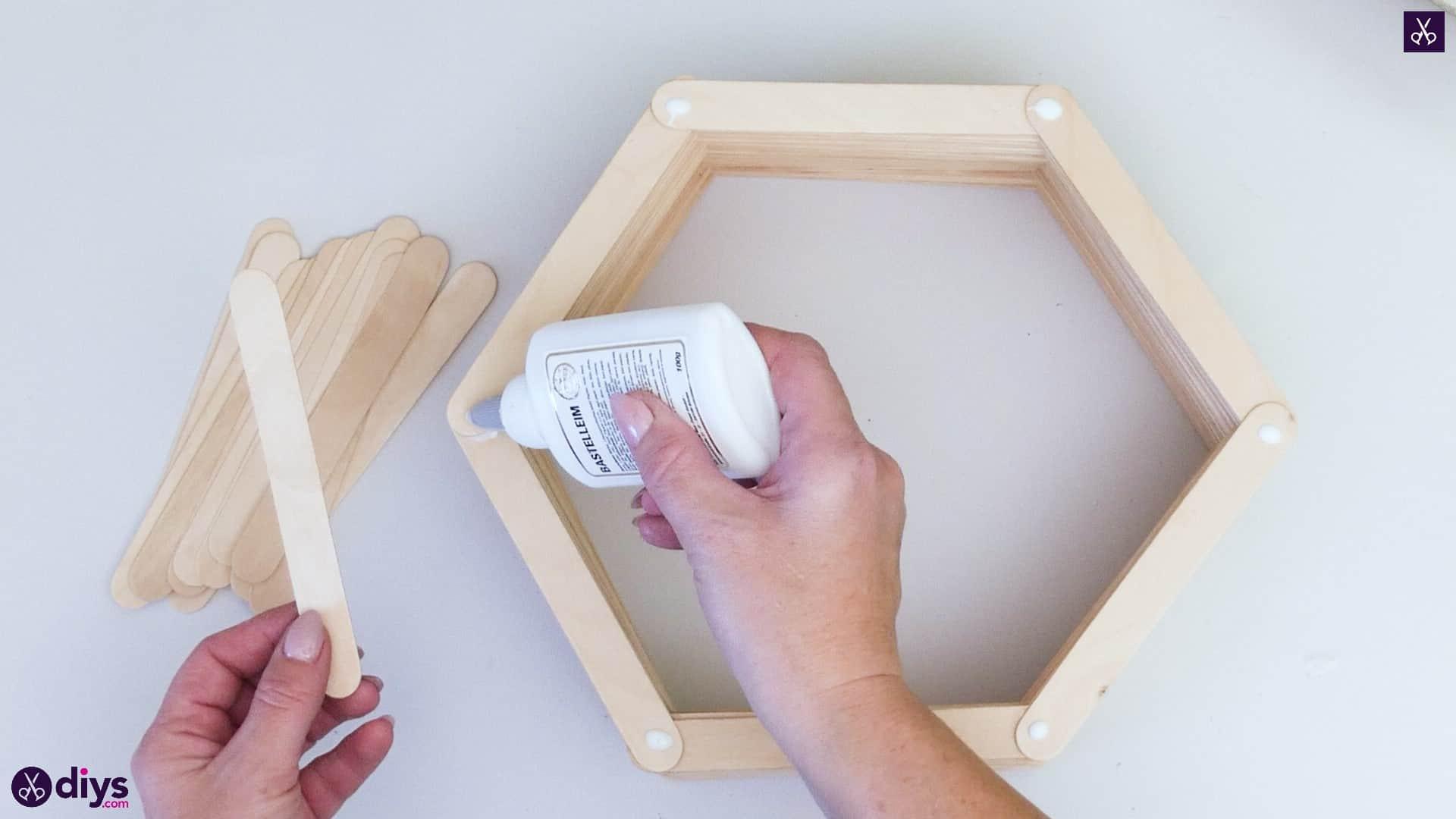 Diy popsicle stick hexagon shelf step 3