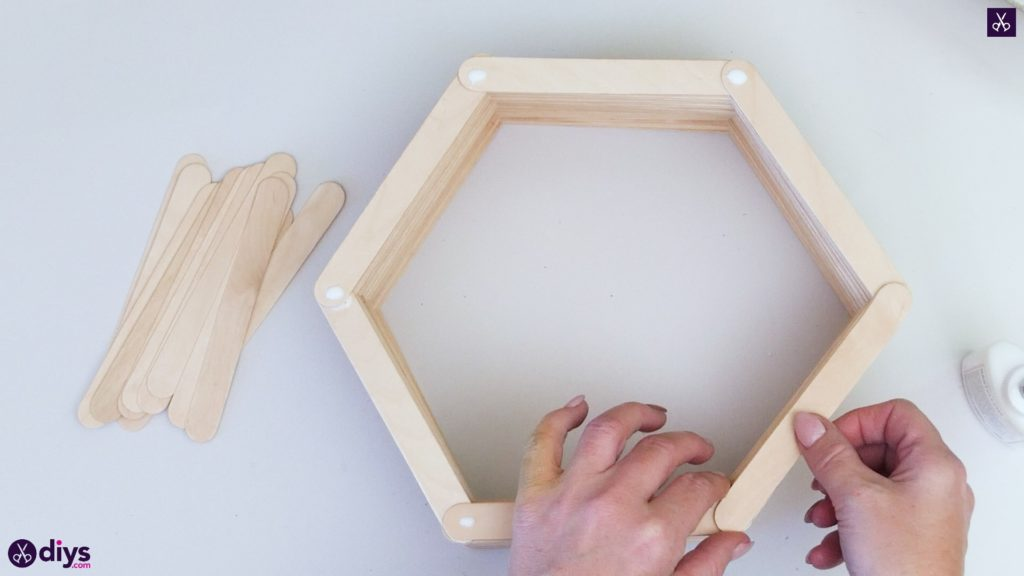 Diy popsicle stick hexagon shelf step 3a