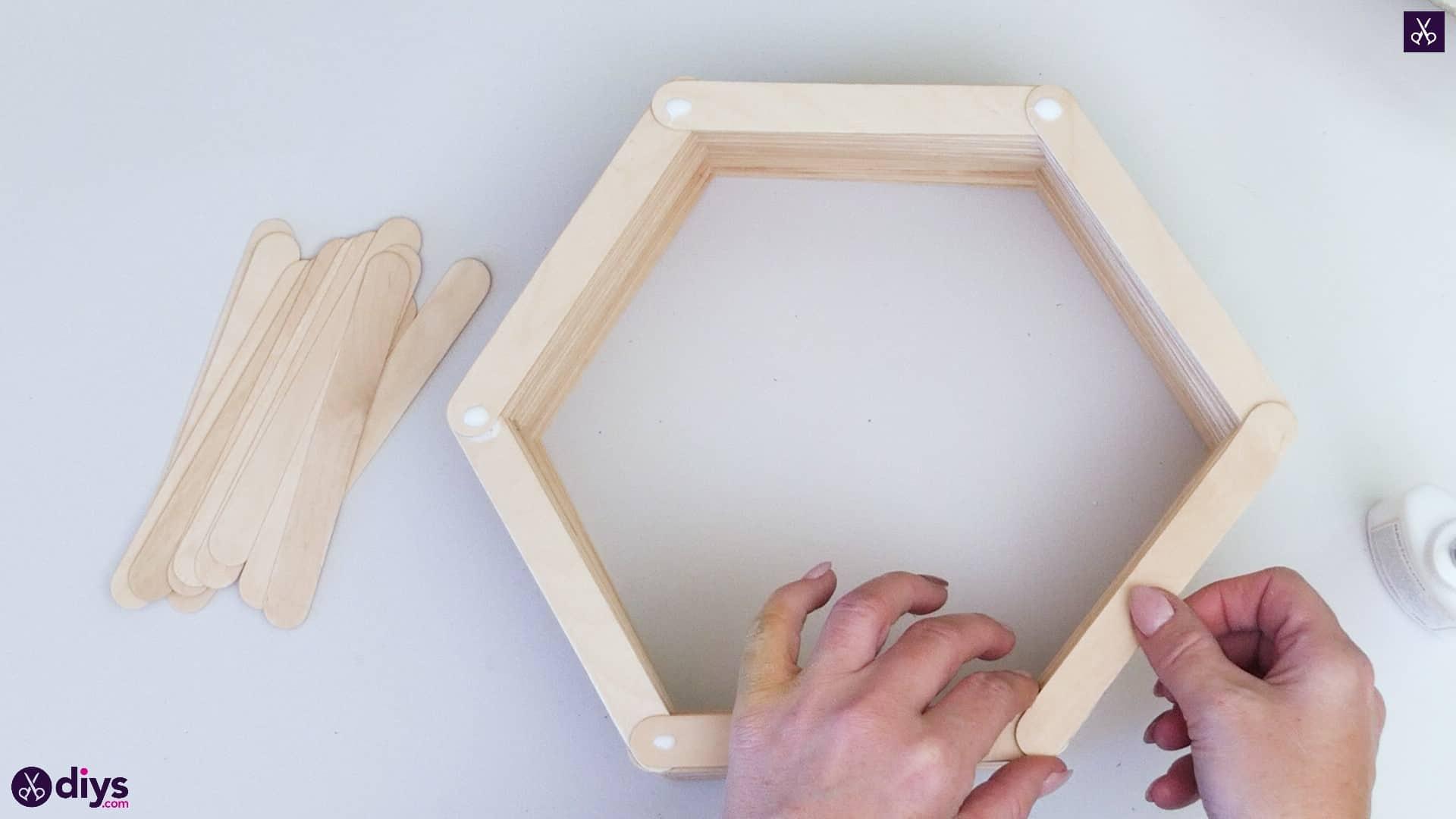 Diy popsicle stick hexagon shelf step 3a