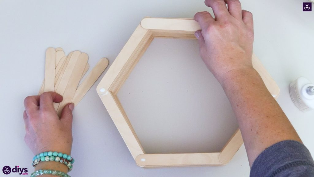 Diy popsicle stick hexagon shelf step 3b