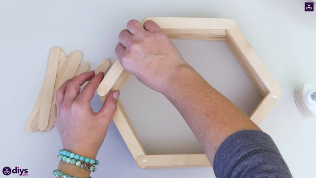 Diy popsicle stick hexagon shelf step 3c