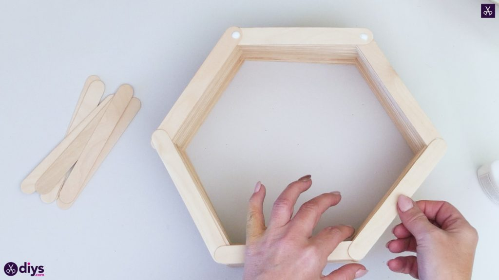 Diy popsicle stick hexagon shelf step 3d