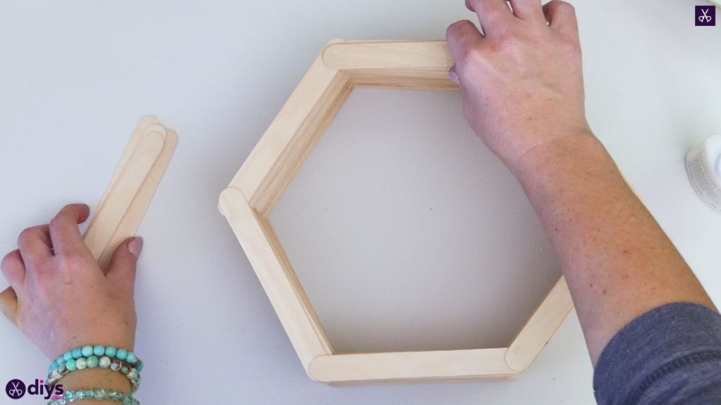 Diy popsicle stick hexagon shelf step 3e