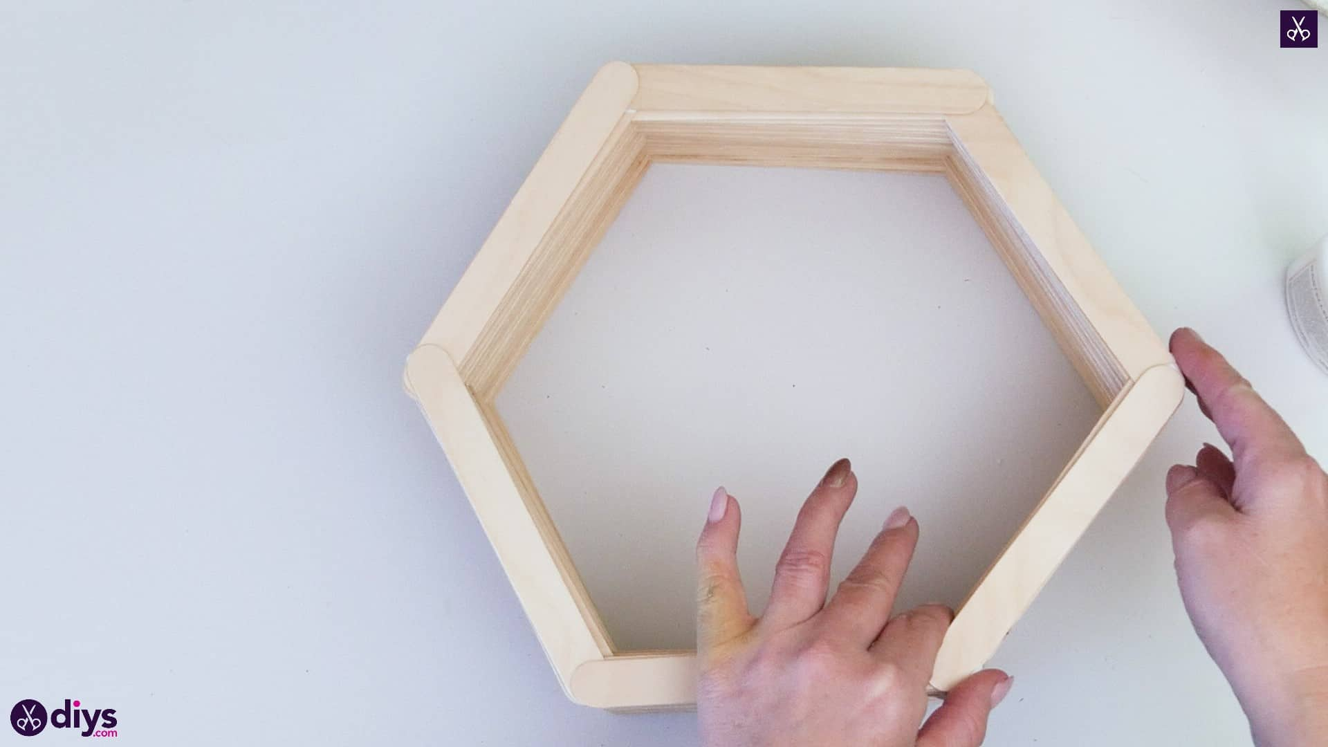 Diy popsicle stick hexagon shelf step 3f