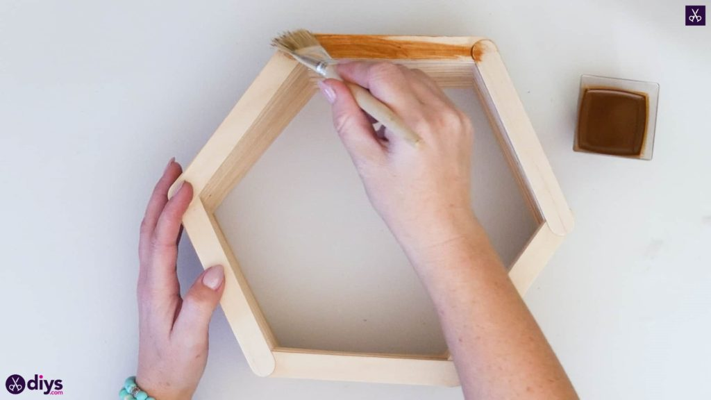 Diy popsicle stick hexagon shelf step 4