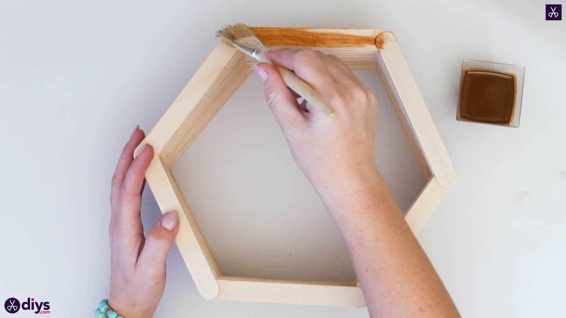 Diy popsicle stick hexagon shelf step 4