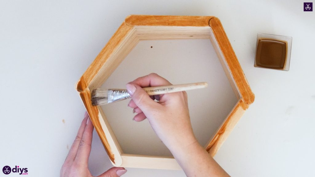 Diy popsicle stick hexagon shelf step 4a