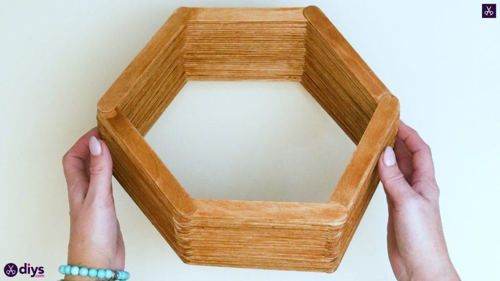 Diy popsicle stick hexagon shelf step 4e