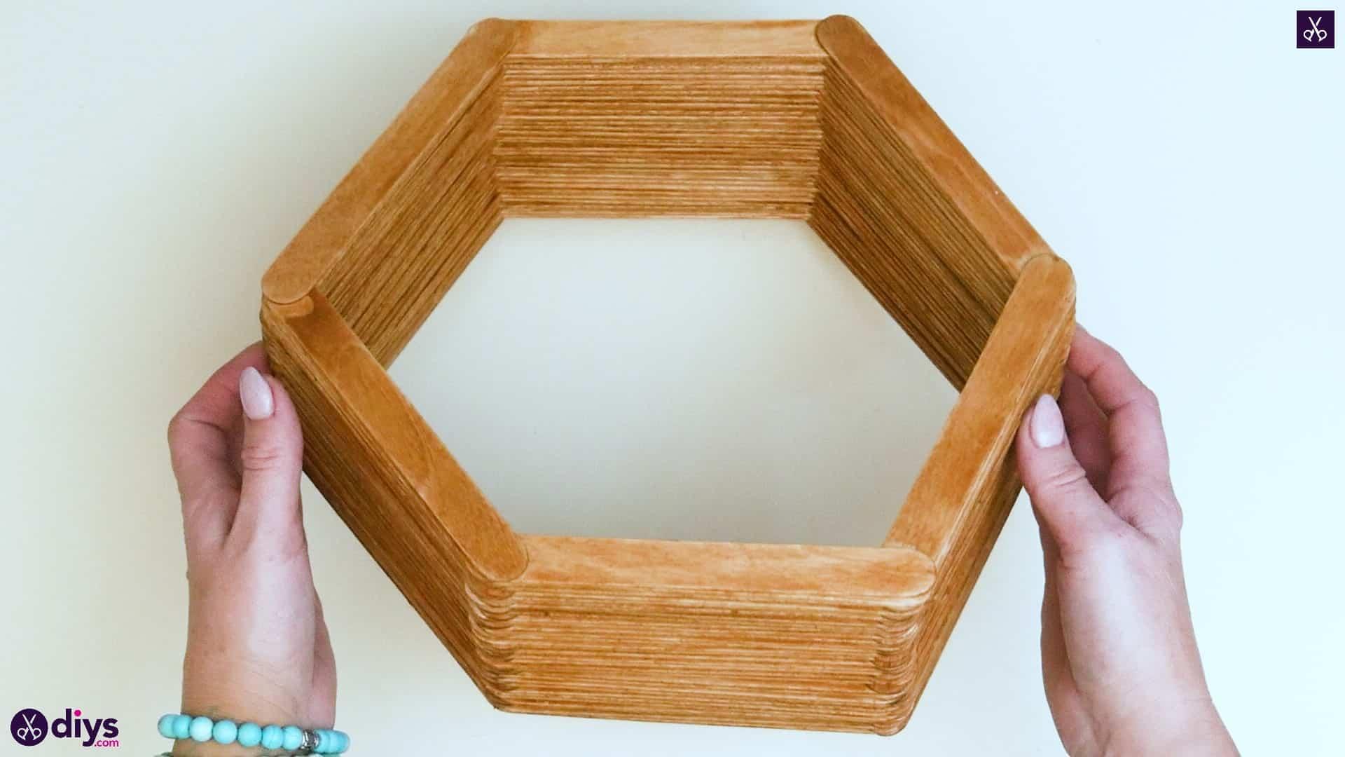 Diy popsicle stick hexagon shelf step 4e