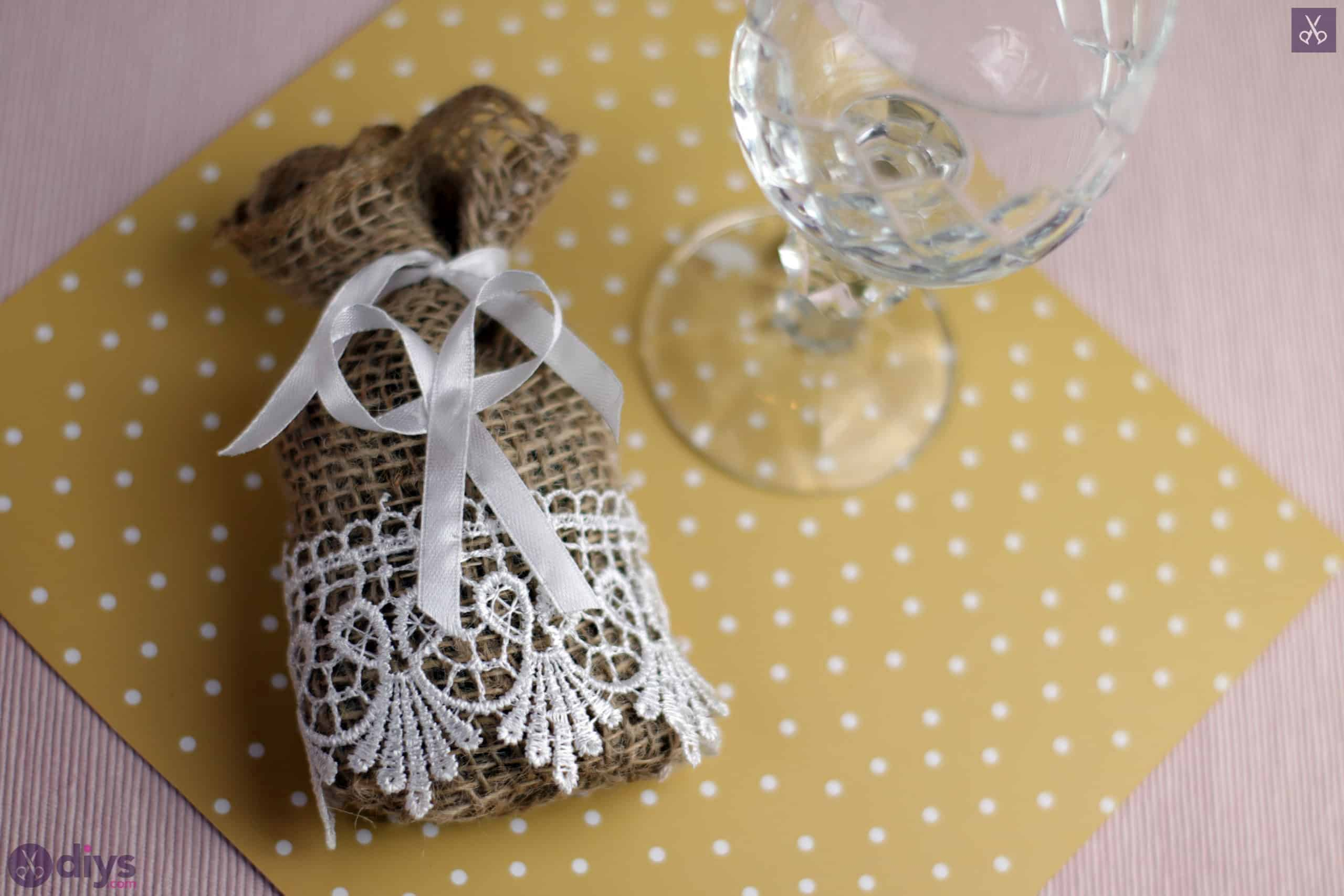 Diy rustic wedding favour bag table accent