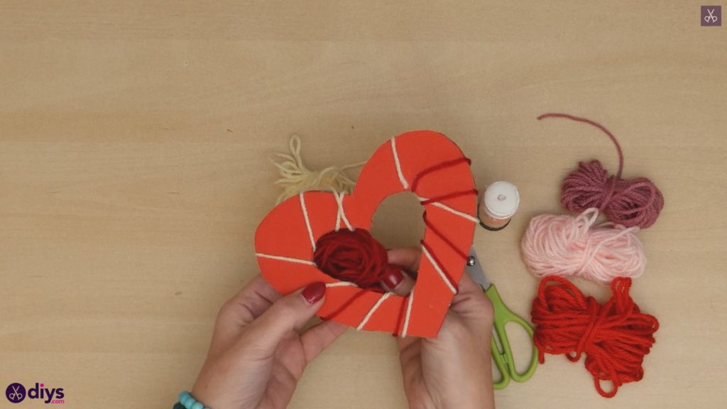 Diy yarn wrapped paper heart step 6