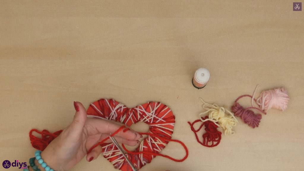 Diy yarn wrapped paper heart step 7