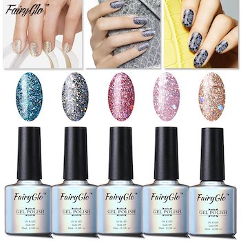 Fairyglo well picked 5 colour combo glitter gel nail polish