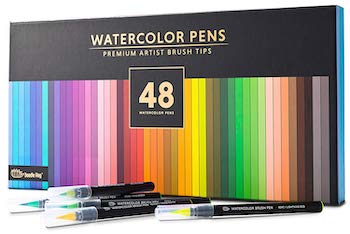 Gift box of 48 premium watercolor brush pens