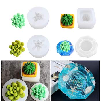 Heflashor 4 piece succulent shaped candle and resin molds