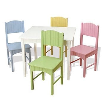 Kidkraft nantucket kid's wooden table & 4 chairs set with wainscoting detail
