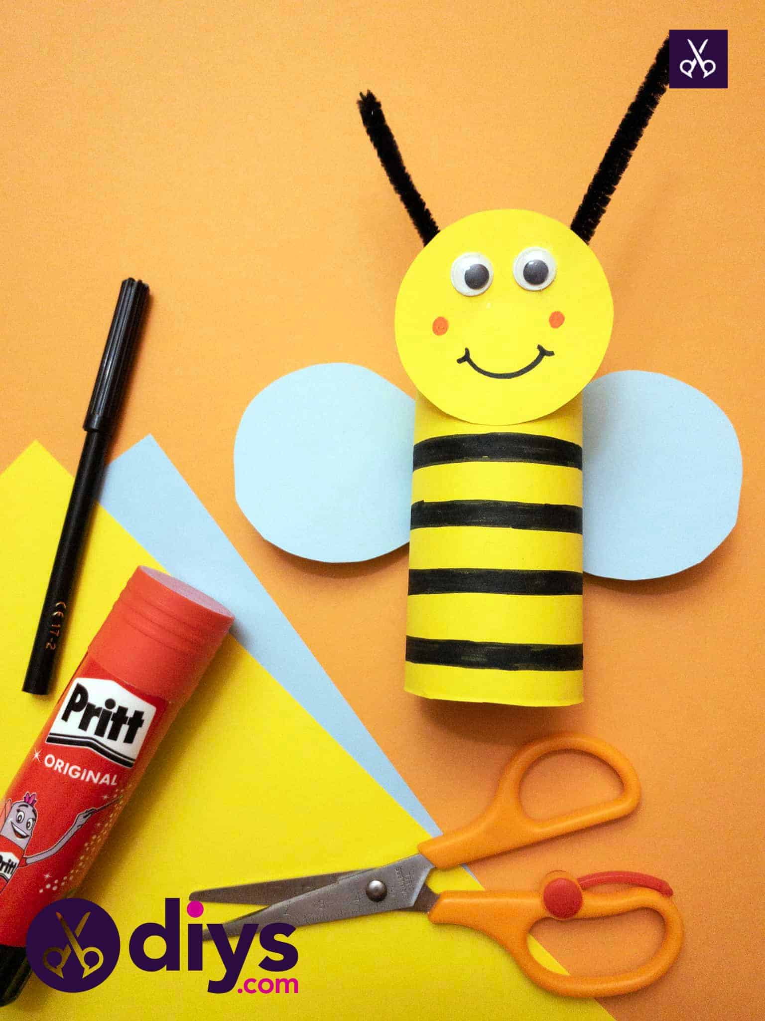 Kids how to make a toilet paper roll bee