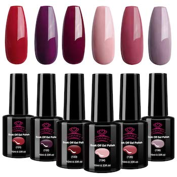 Makartt burgundy red gel nail polish kit