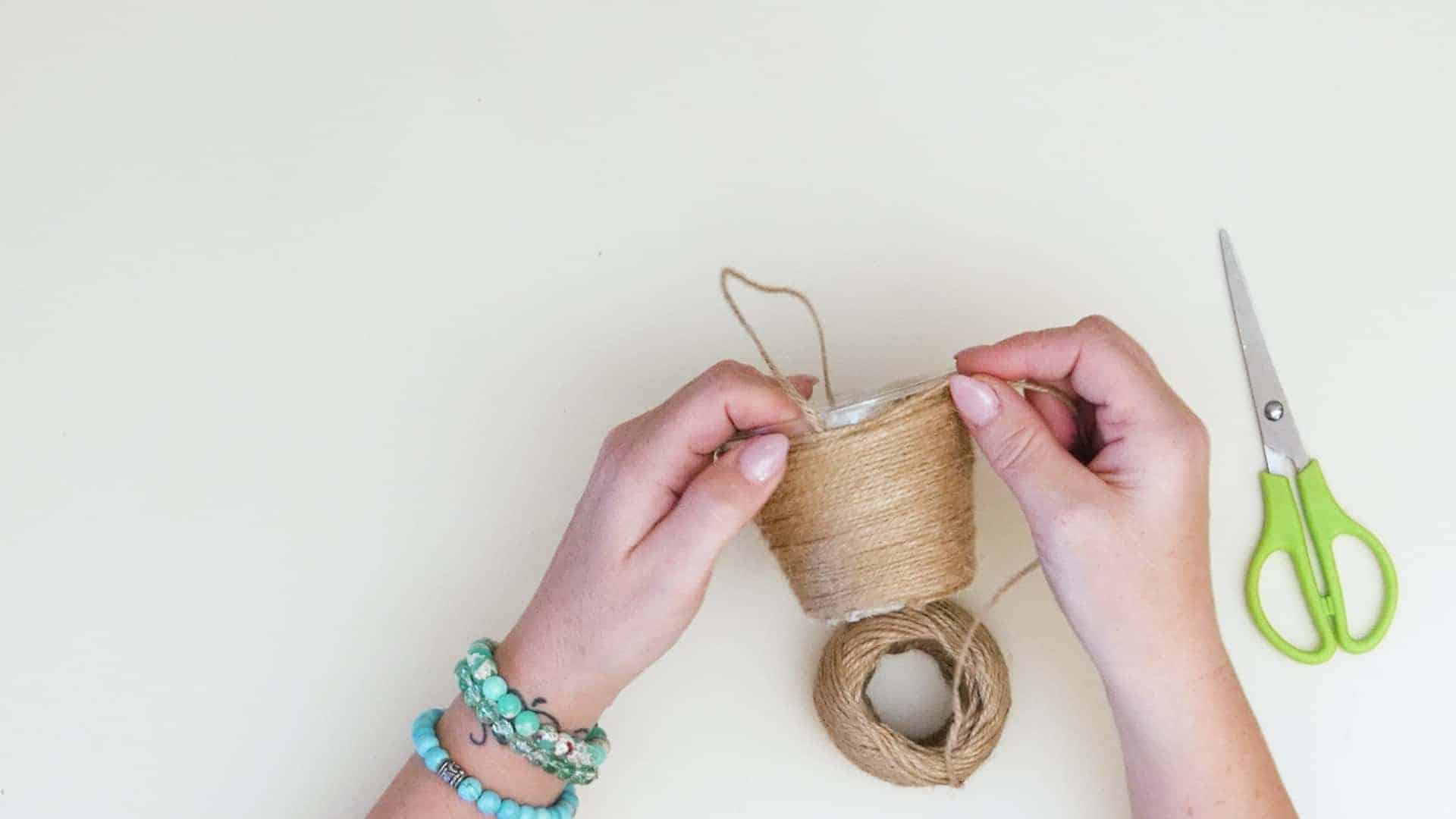Mini jute wrapped basket add jute