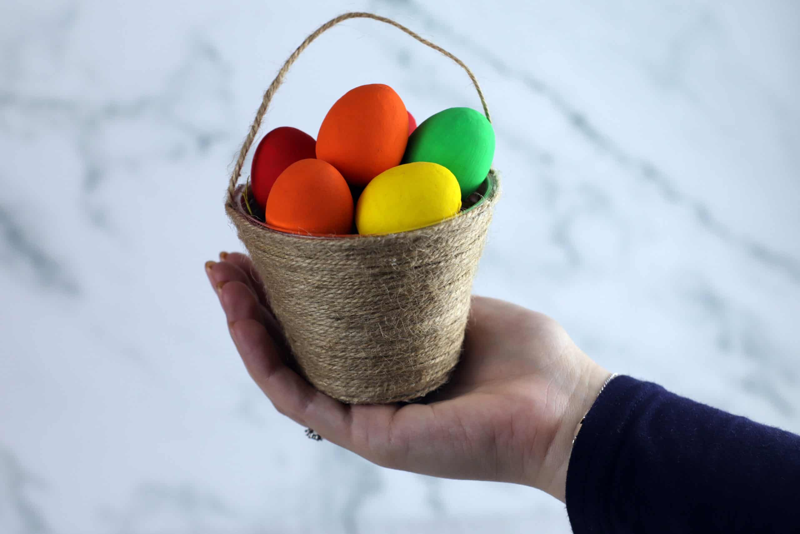 Mini jute wrapped basket for easter