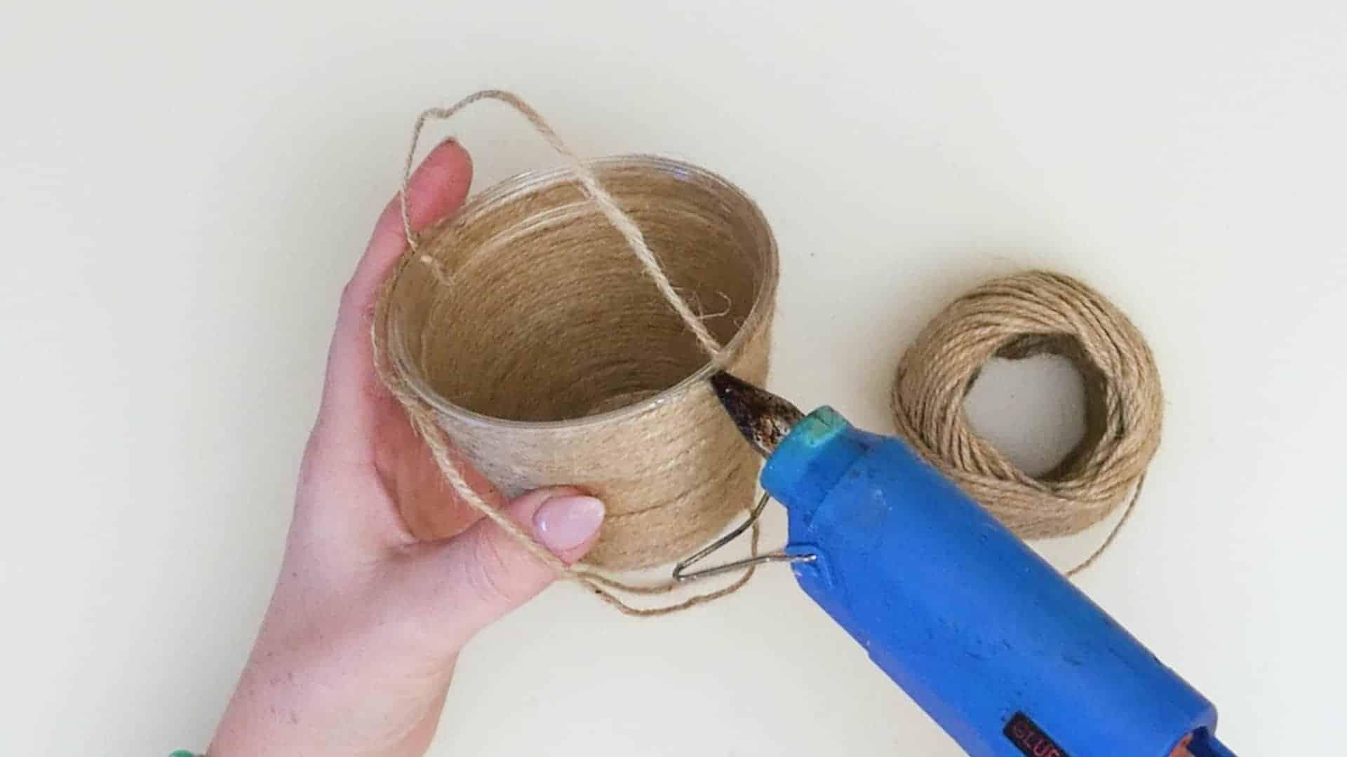 Mini jute wrapped basket glue