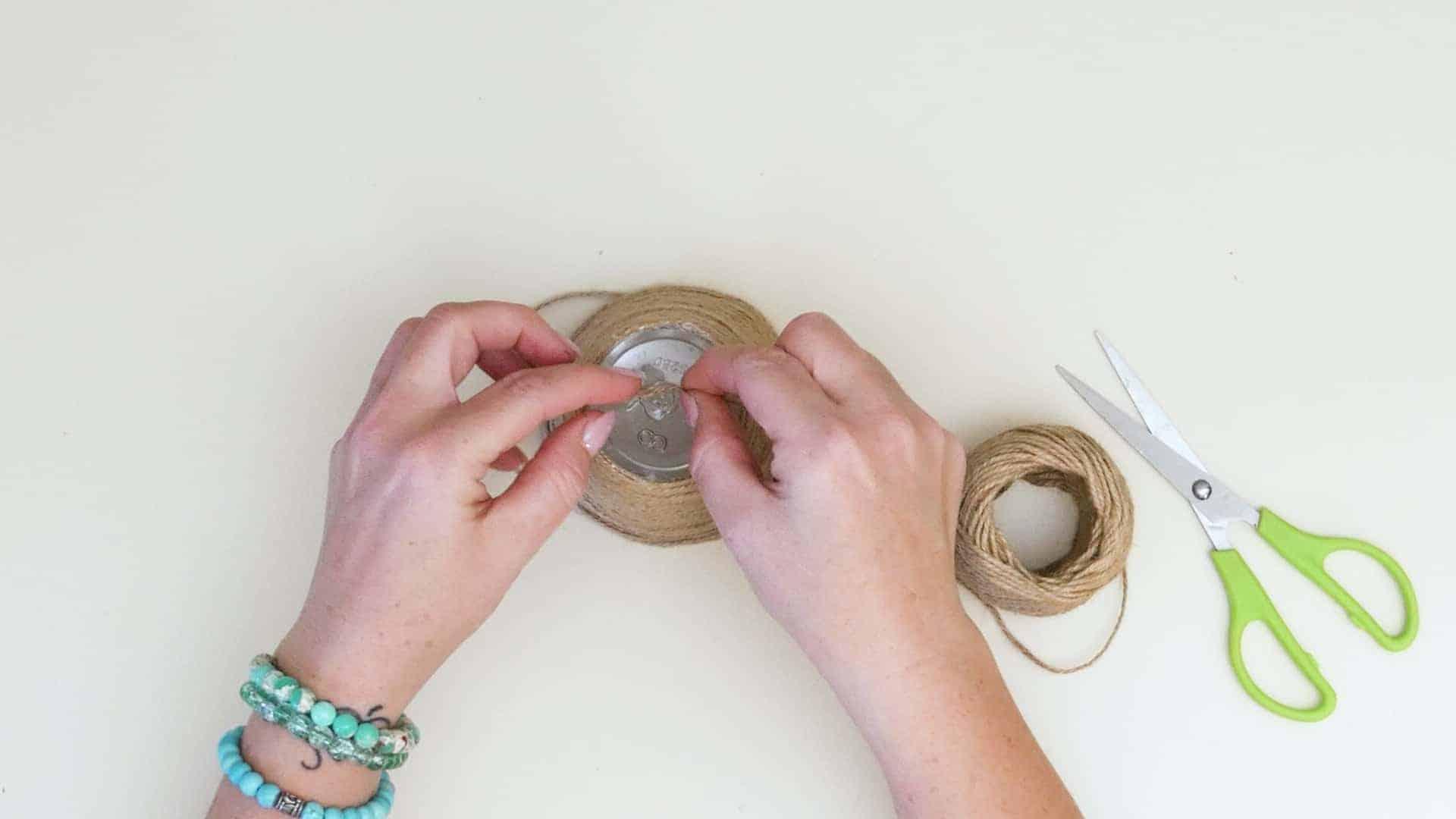 Mini jute wrapped basket step 3a