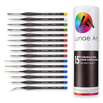Miniature fine detail 15pc paint brush set by lunae arts