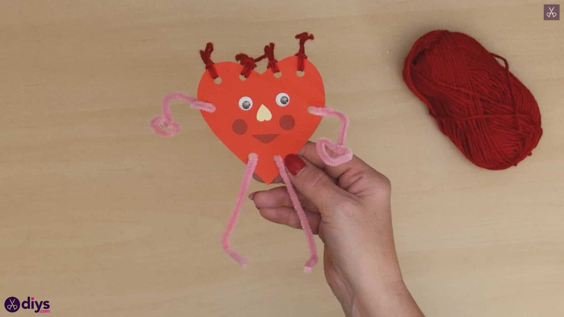 Paper valentine creature step as