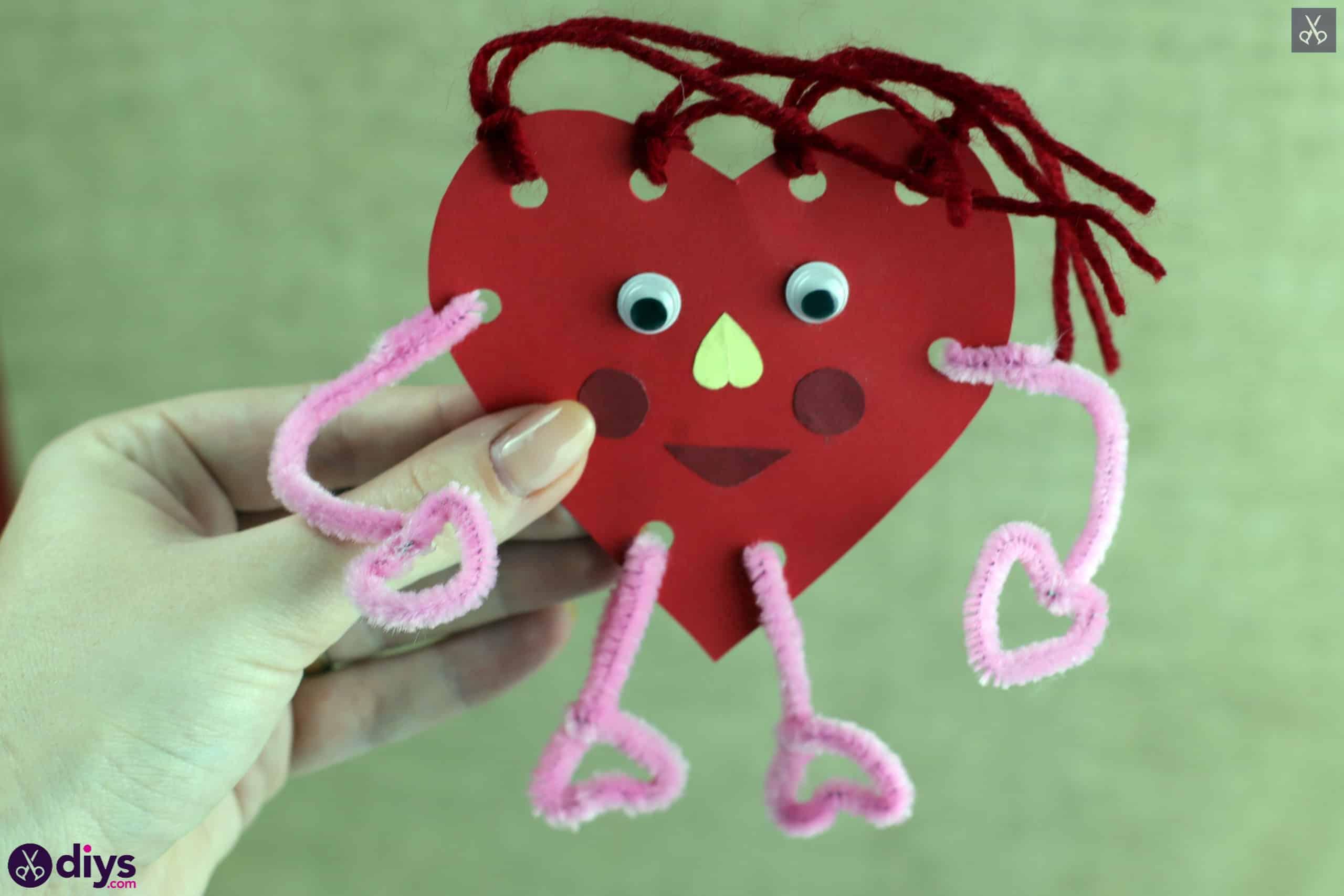 Paper valentine creature step display