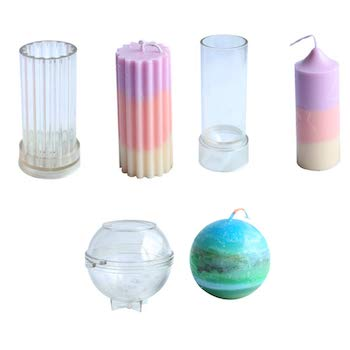 Plastic pillar and sphere candle making kit