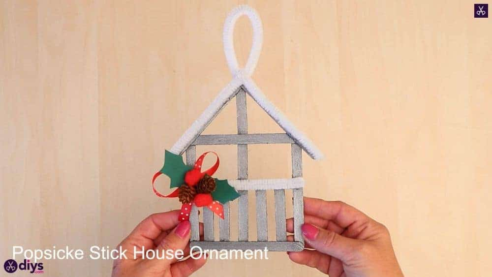 Popsicle stick house ornament 2