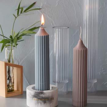Spiral shape cylinder candle mold