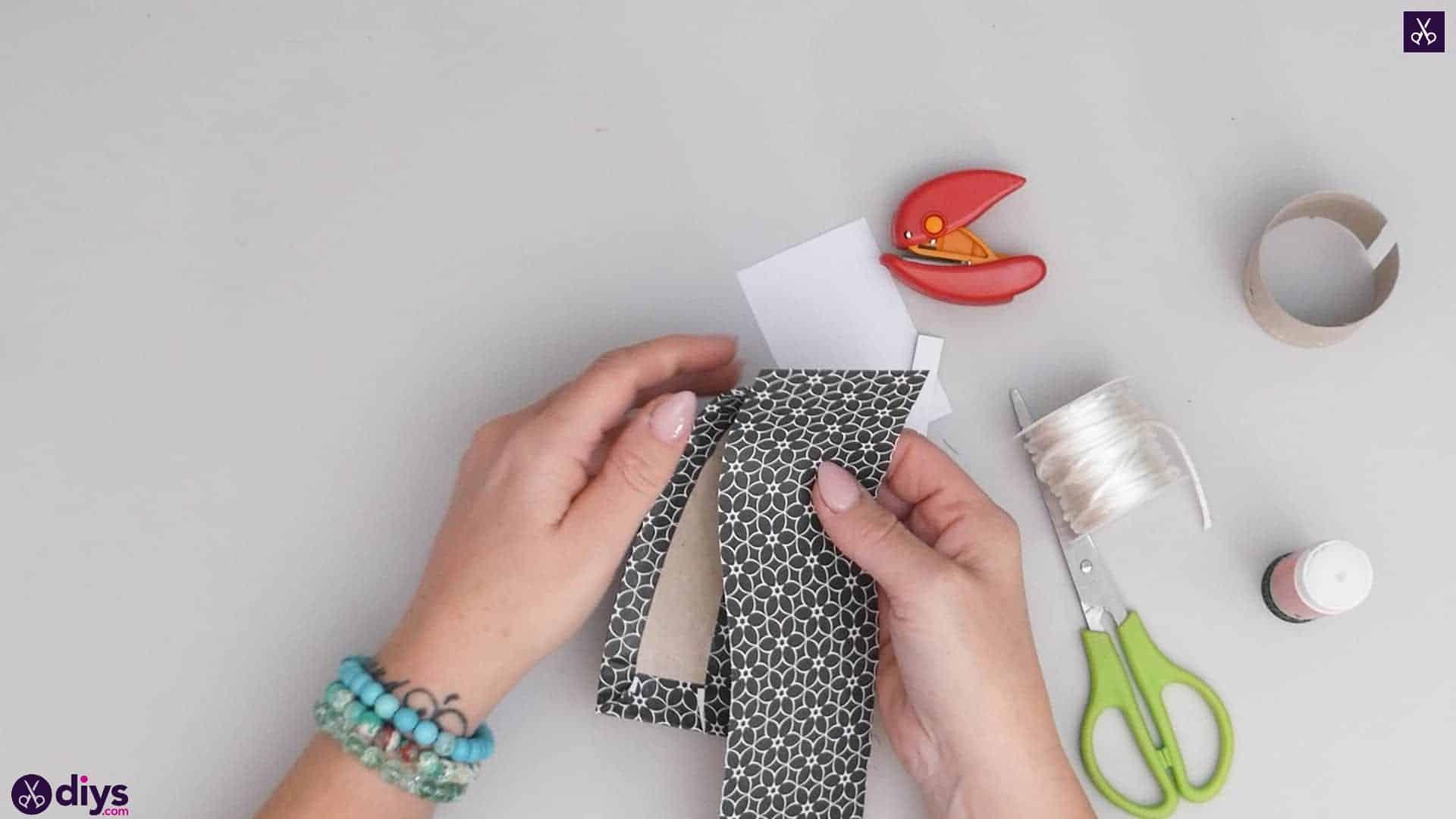 Toilet paper roll bracelet step 4