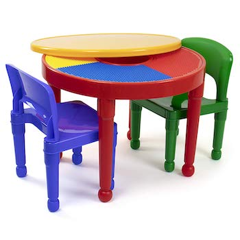 Tot tutors kids 2 in 1 plastic building blocks compatible activity table and 2 chairs set