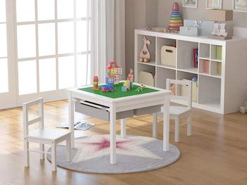Utex 2 in 1 kids multi activity table and 2 chairs set with storage
