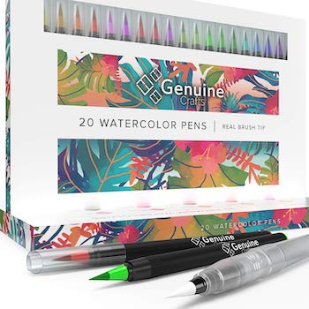 Watercolor brush pens by genuine crafts