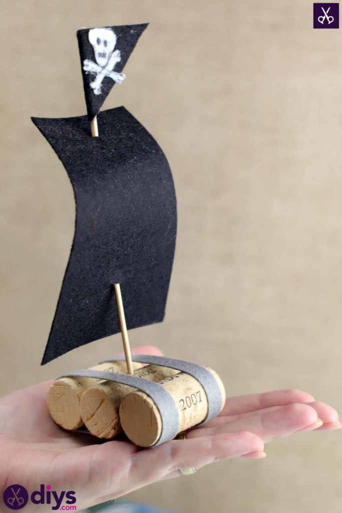 Wine bottle cork pirate ship decor