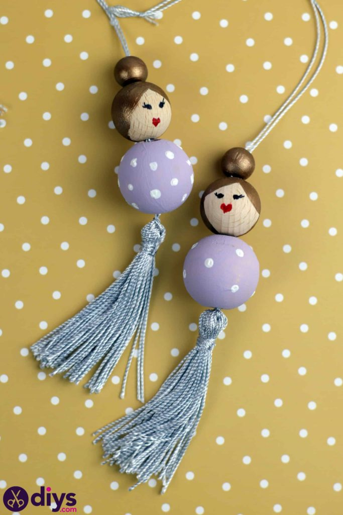 DIY wooden beads doll decorations hang