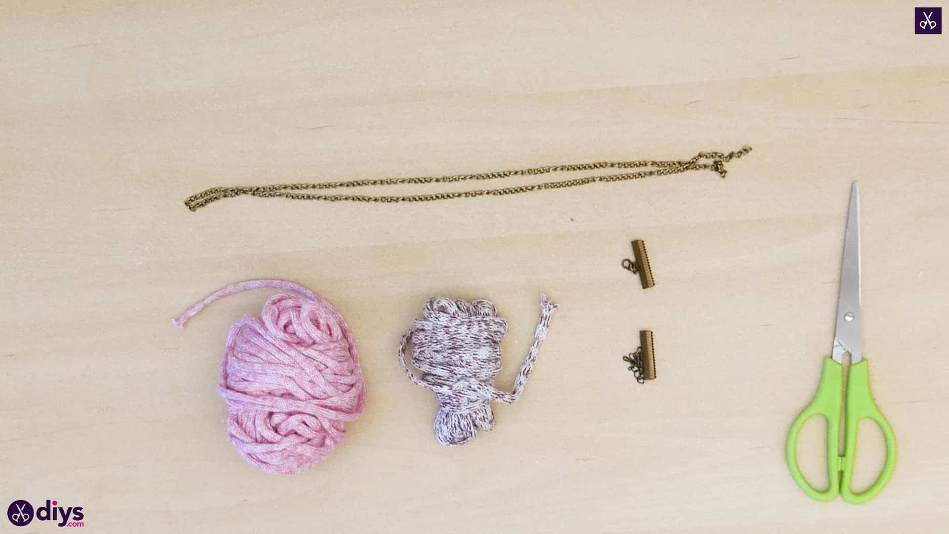 Yarn and chain bracelet materials