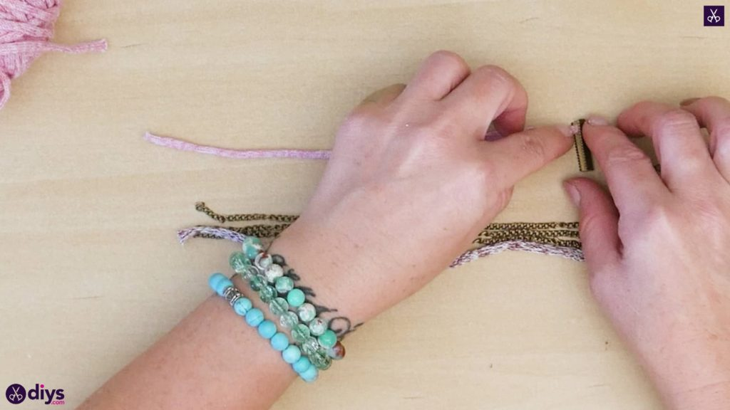 Yarn and chain bracelet step 2