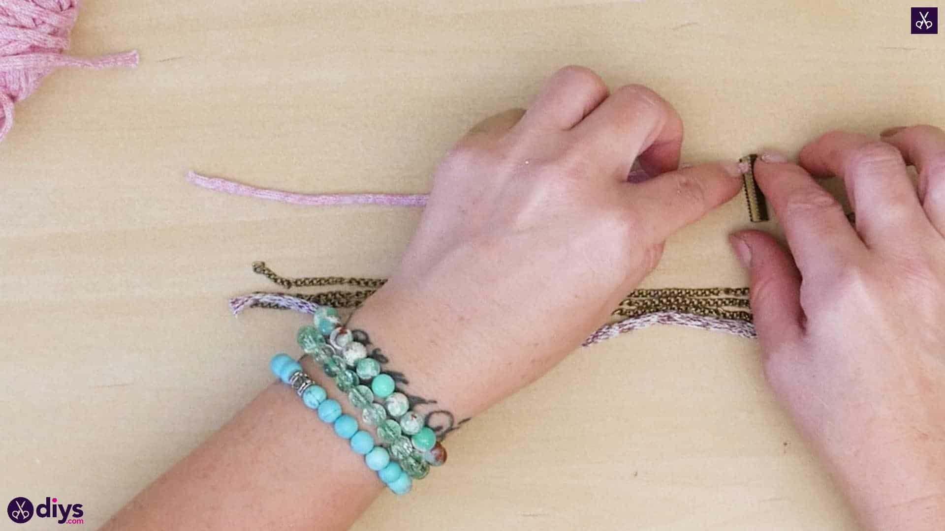 Yarn and chain bracelet step 2