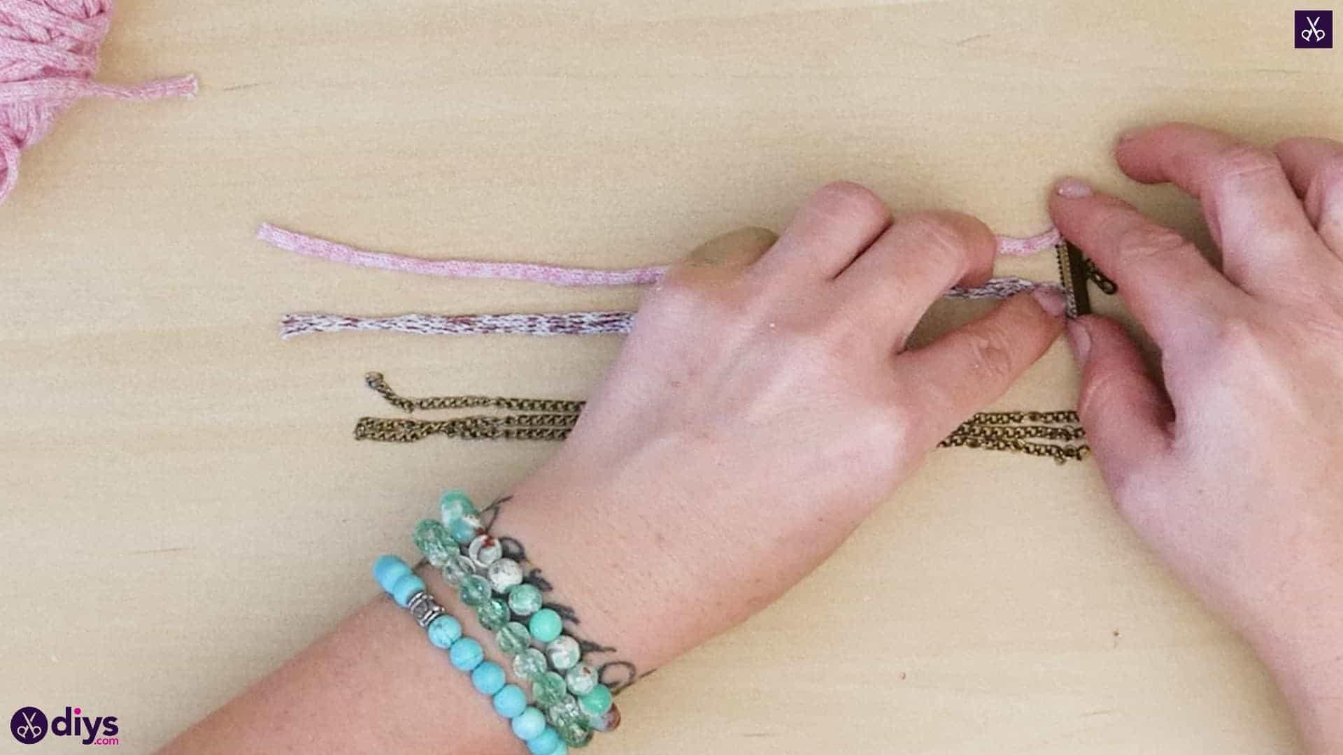 Yarn and chain bracelet step 2a